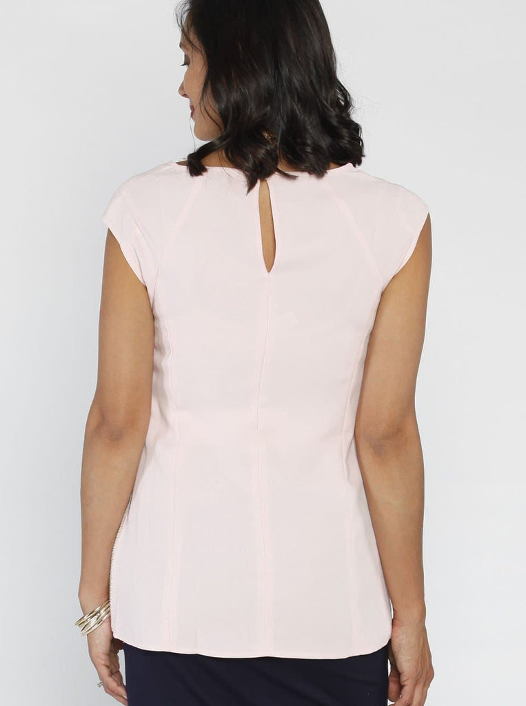Angel Maternity Stretchy Work Top with Side Zipper Opening - Light Pink