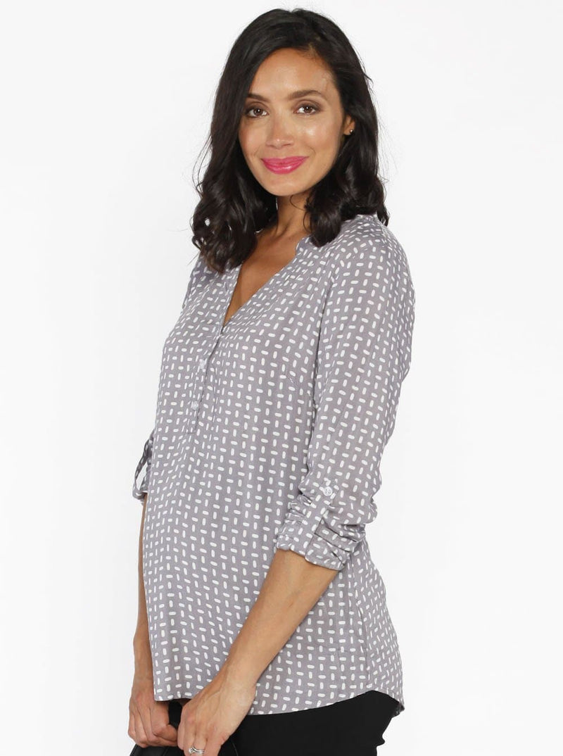 Maternity Roll Up Long Sleeve Shirt - Brown Dots Print