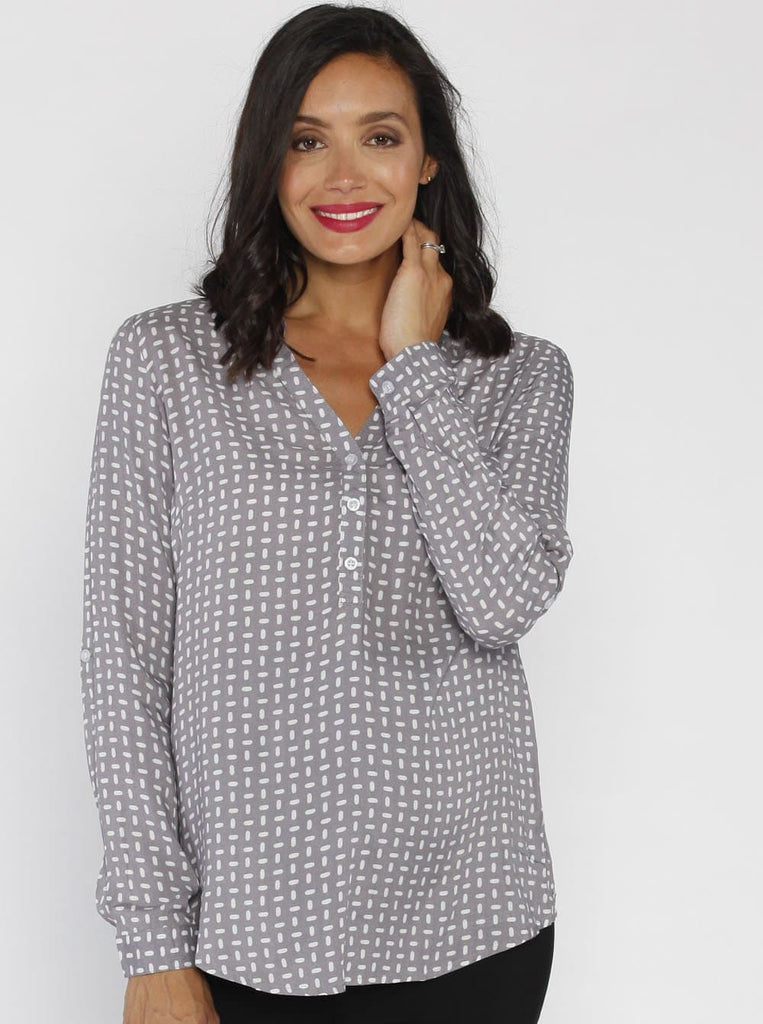 Angel Maternity Roll Up Long Sleeve Maternity Shirt - Brown Dots Print