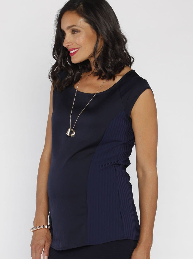 Angel Maternity Maternity Stretchy Round Neck Top in Navy