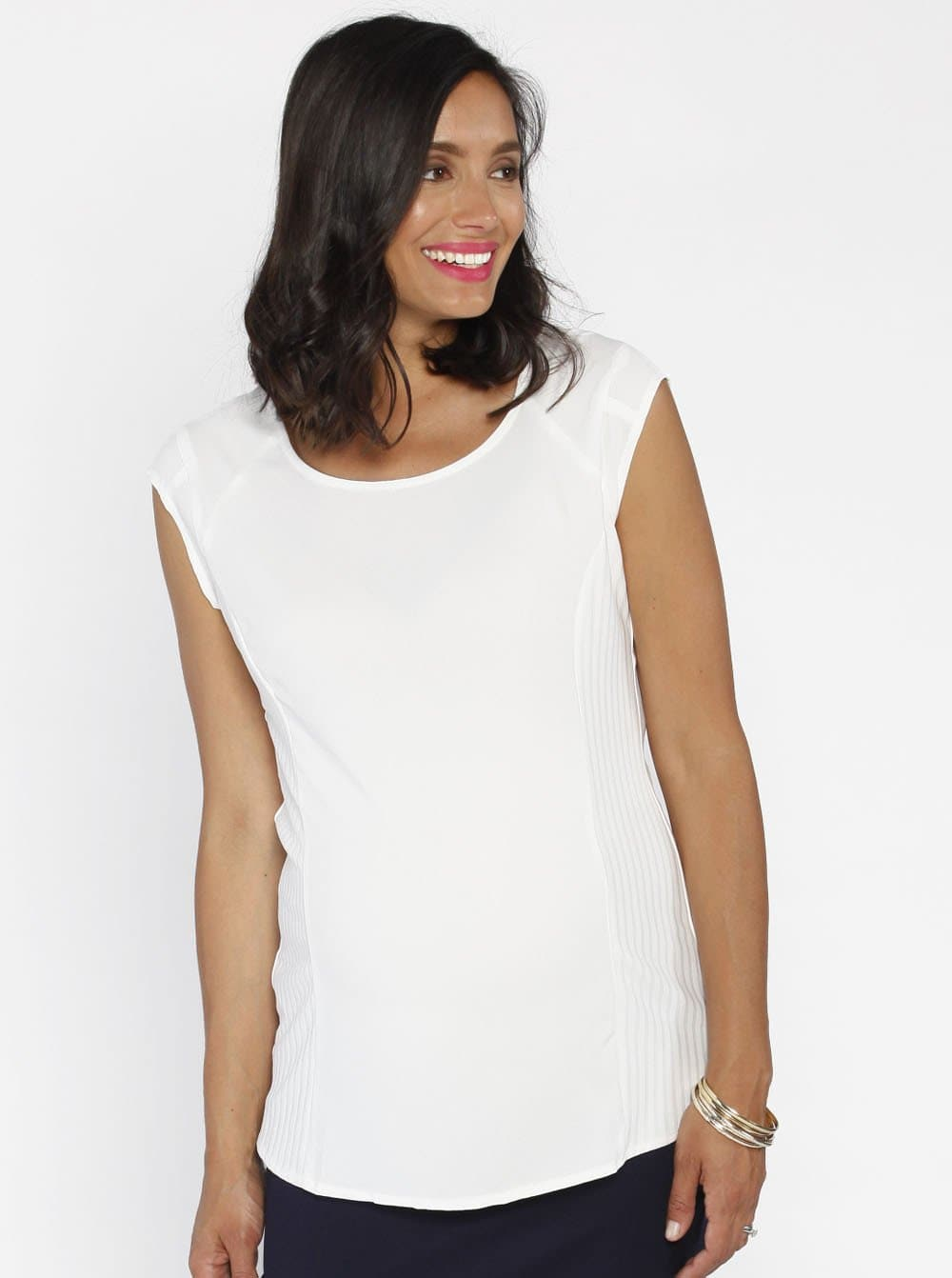 Maternity Stretchy Round Neck Top in White