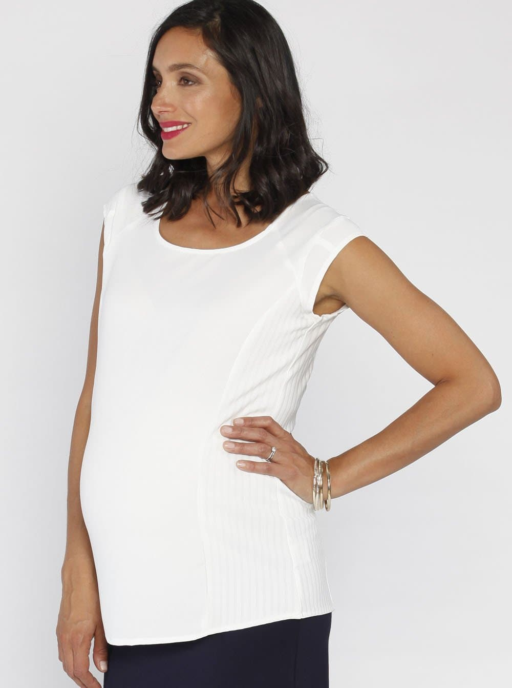 Angel Maternity Maternity Stretchy Round Neck Top in White