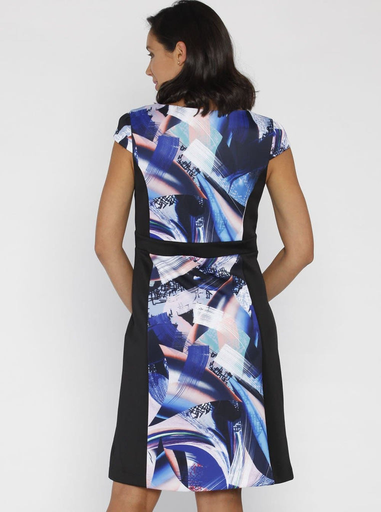 Angel Maternity Illusion Panels Dress in Black & Blue Print