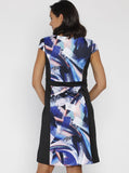 Maternity Illusion Panels Dress in Black & Blue Print - Angel Maternity - Maternity clothes - shop online