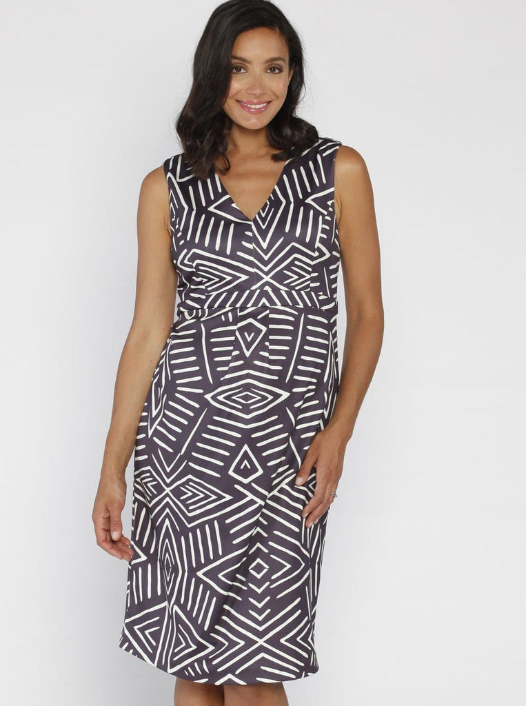 Angel Maternity Sleeveless Ponti Party Dress - Grey and White Print