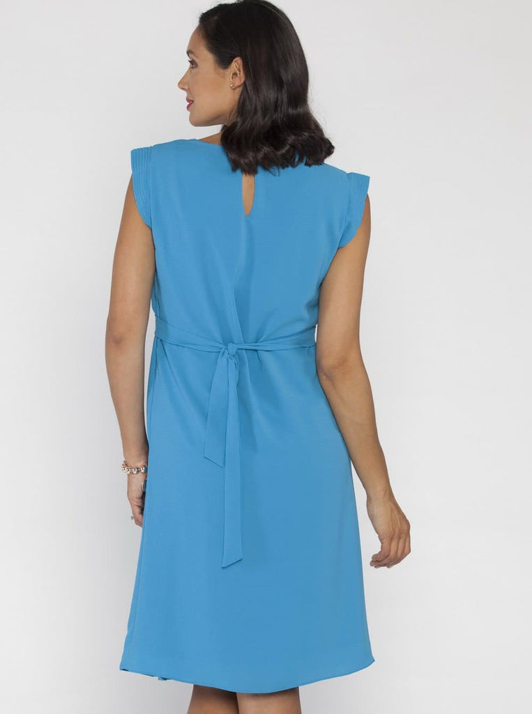 Angel Maternity Tie Back Cap Sleeve Dress - Blue