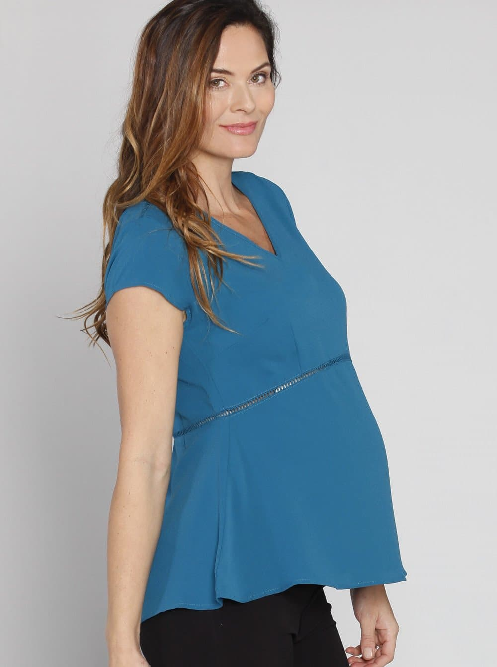 Maternity Dressy Short Sleeve Work Top - Teal Blue - Angel Maternity - Maternity clothes - shop online
