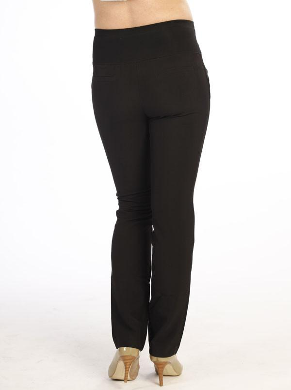Angel Maternity Mid Waist Maternity Straight Leg Pants in Black
