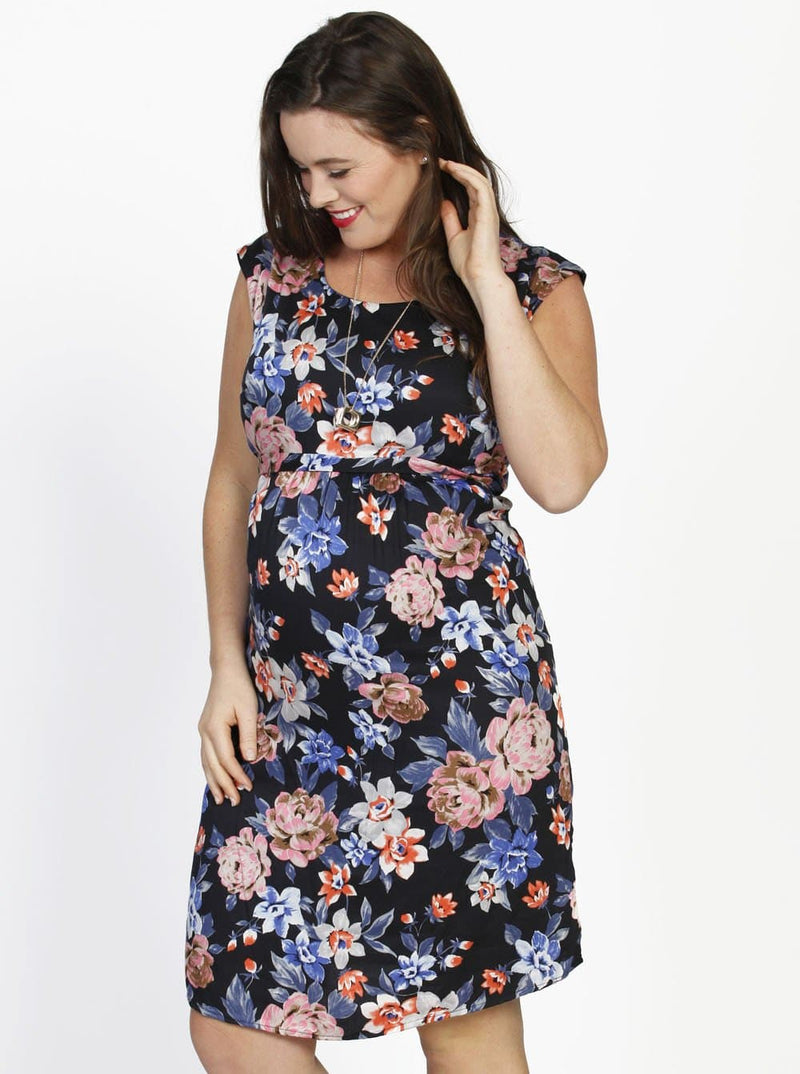 Maternity Tie Back Short Sleeve Summer Dress - Floral Print