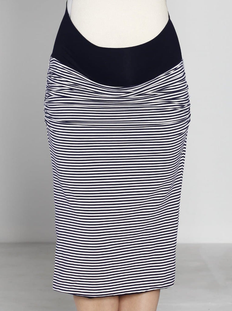 Angel Maternity Reversible Maternity Skirt in Navy/ Stripes