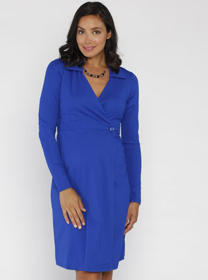 Angel Maternity Mock Wrap Dress - Blue