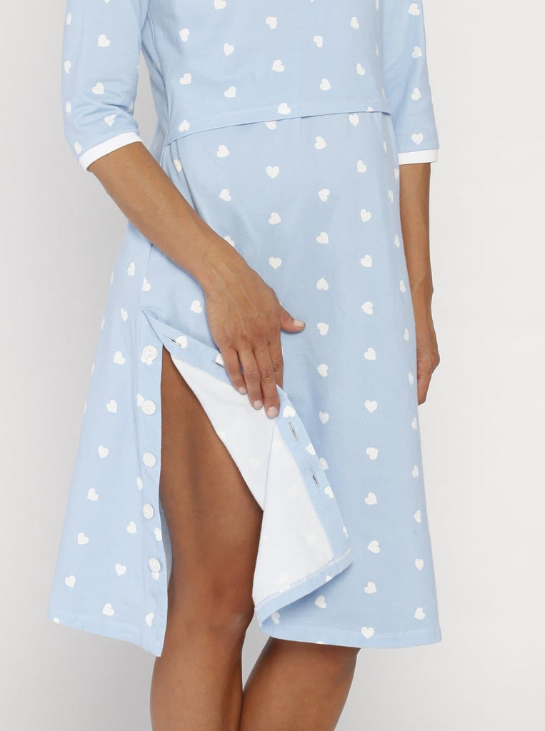 Hospital Birthing Gown with Nursing Access - Light Blue Hearts - Angel Maternity - Maternity clothes - shop online
