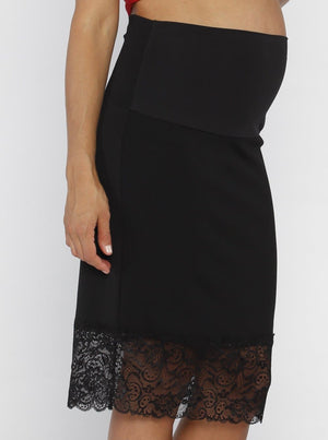 Angel Maternity Black Skirt with Lace Details