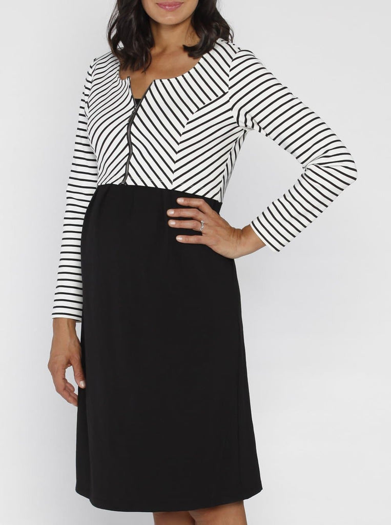 Angel Maternity Stripe Work Dress with Zipper Details - Black
