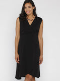 Maternity Little Black Dress in Mock Wrap Petal Style - Angel Maternity - Maternity clothes - shop online