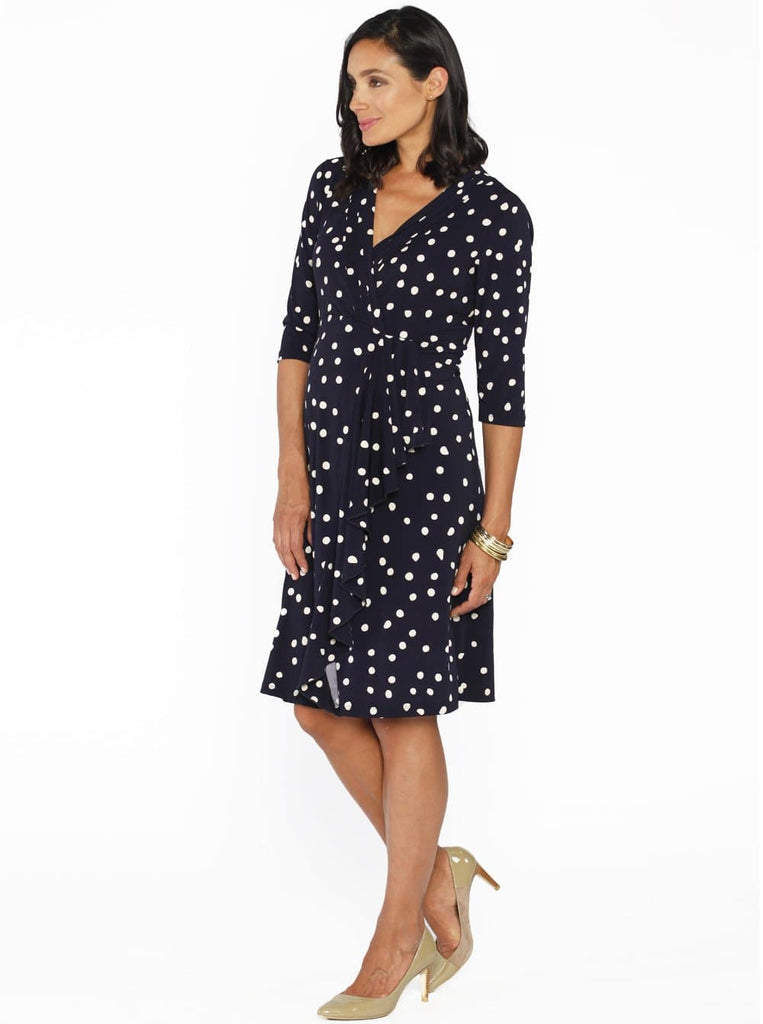Angel Maternity Mock Wrap Half Sleeve Dress - Polkadots