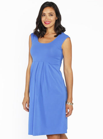 Maternity Crossover Soft Pleated Dressy Nursing Top - Blue