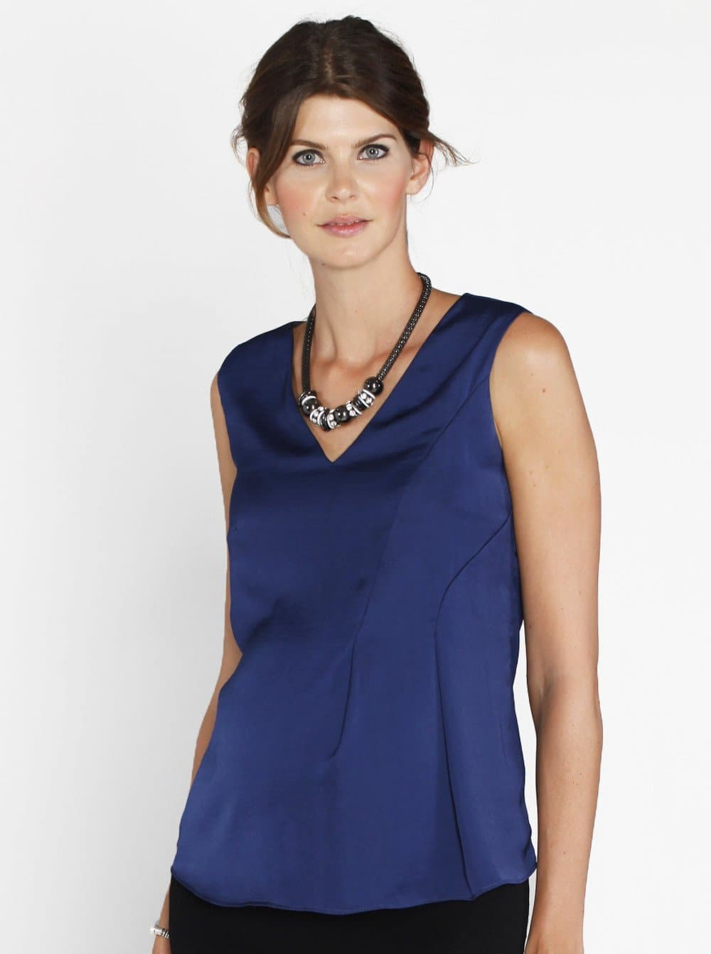Angel Maternity Sleeveless Chiffon Dressy Silk Top - Navy