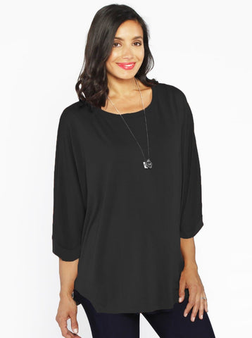 175b50ad74baf Maternity Loose Fit Double Layer Nursing Top - Black