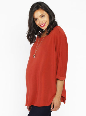 Maternity Loose Fit Double Layer Nursing Top - Black - Angel Maternity - Maternity clothes - shop online