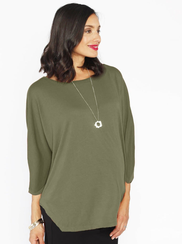 Maternity Loose Fit Top in 3/4 Sleeve - Khaki