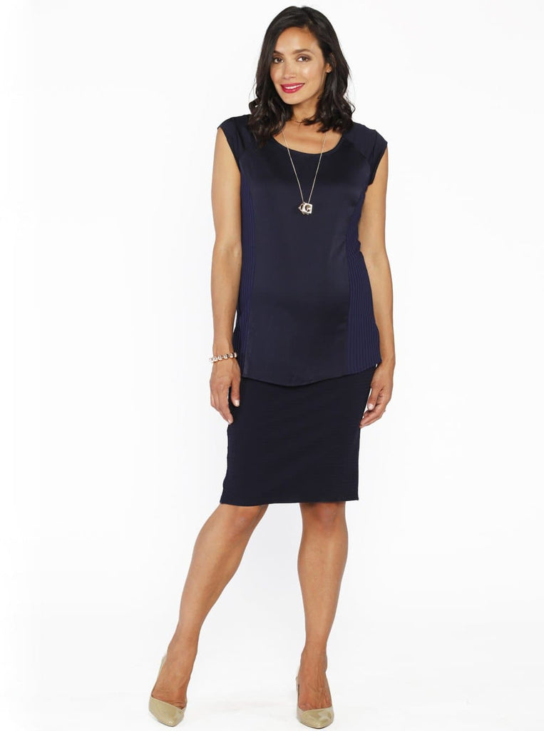 Maternity Straight Cut Maternity Work Skirt in Navy Self Stripe