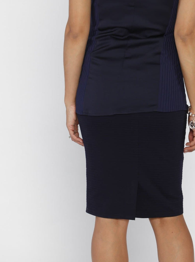 Angel Maternity Straight Cut Maternity Work Skirt in Navy Self Stripe