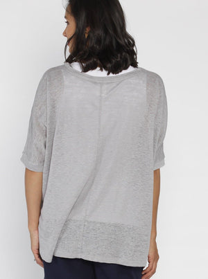 Breastfeeding Double Layer Nursing Top - Grey & White - Angel Maternity - Maternity clothes - shop online