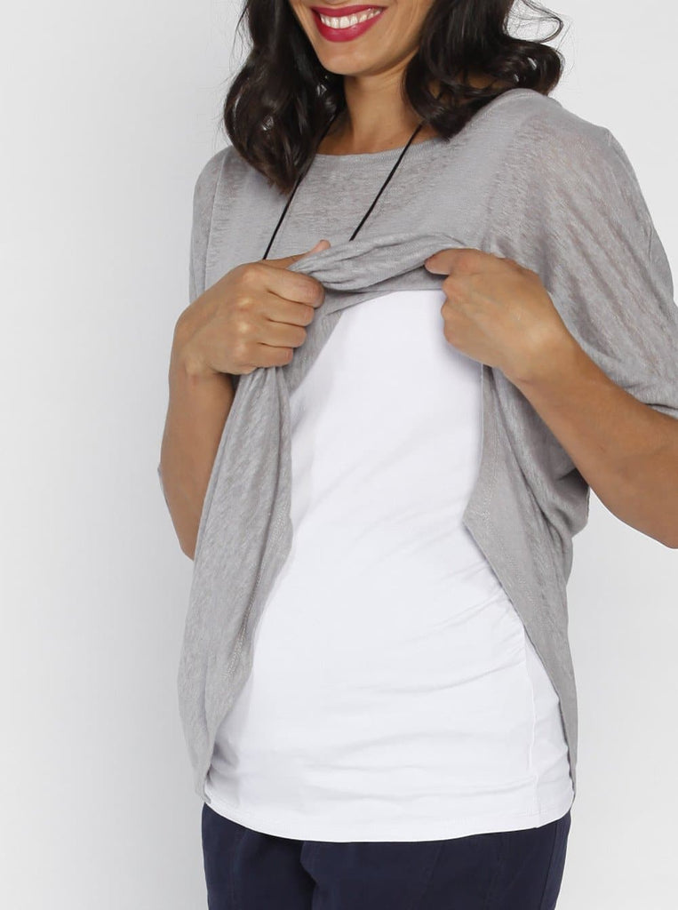 Angel Maternity Double Layer Nursing Top - Grey & White