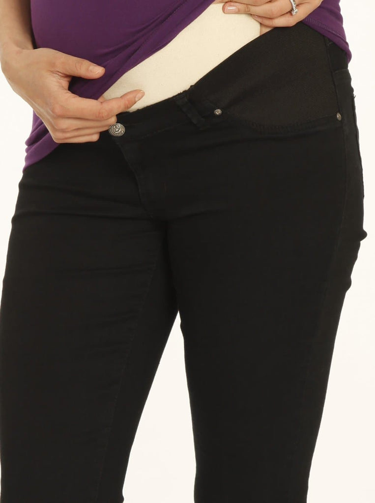 Maternity Comfortable Stretch Slim Jeans in Black - Angel Maternity - Maternity clothes - shop online