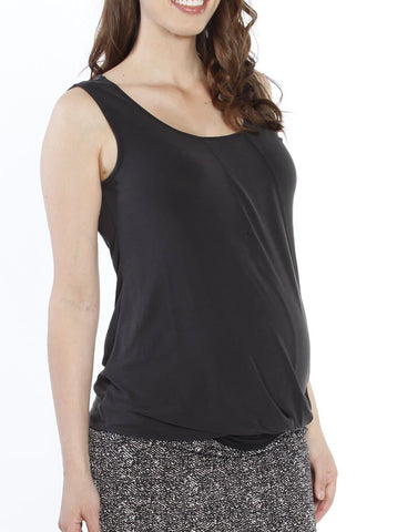 Maternity Work Crossover Short Sleeve V-Neck Top - Black