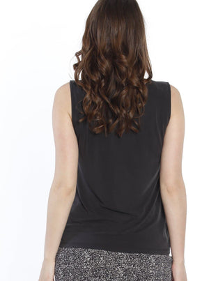 Maternity Sleeveless Modal Work Top - Black back