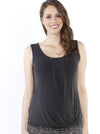 Maternity Sleeveless Modal Work Top - Black front