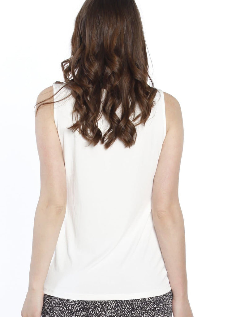 Maternity Sleeveless Modal Work Top - White back