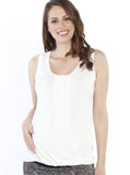 Maternity Sleeveless Modal Work Top - White front