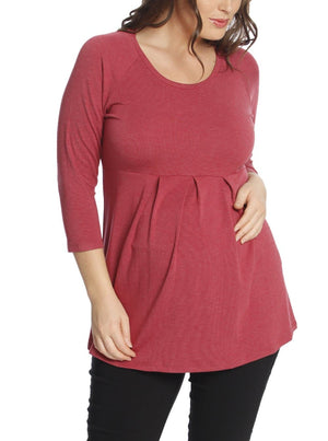 Maternity Half Sleeve Little Cotton Tunic Top - Red