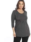 Maternity Half Sleeve Little Cotton Tunic Top - Grey
