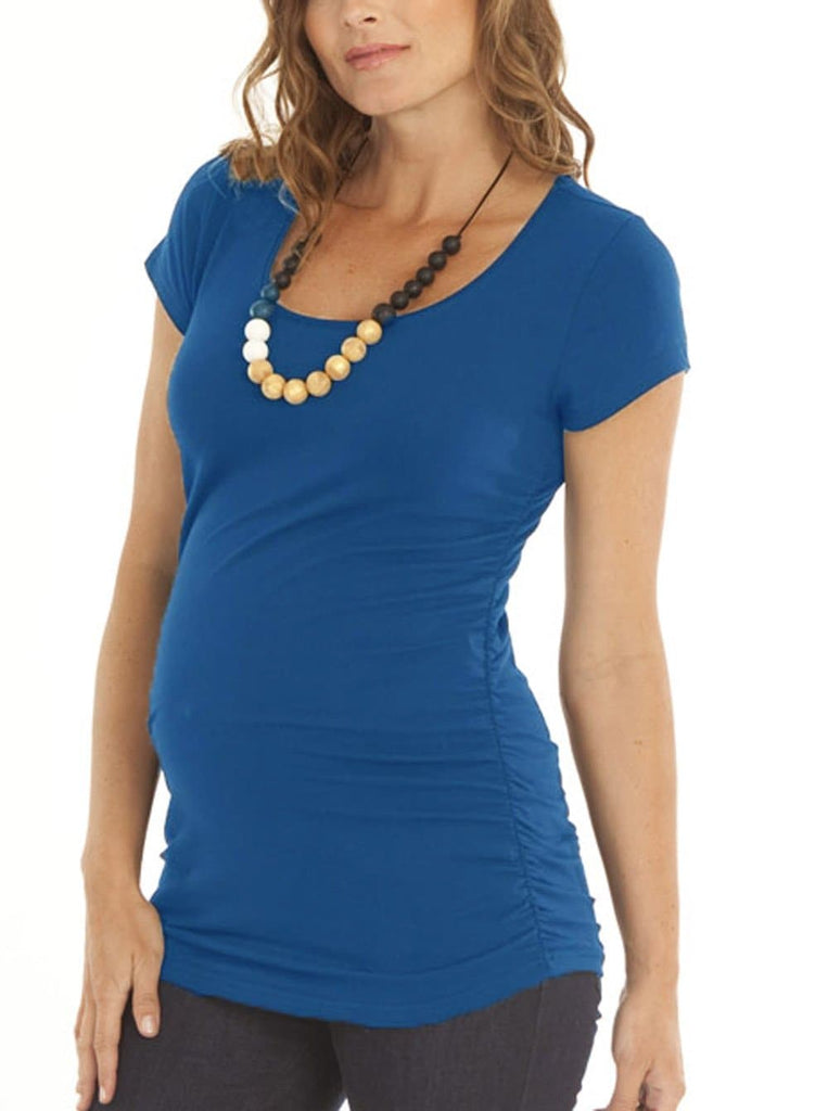 Basic Maternity Body Hugging Stretchy Tee - Blue - Angel Maternity - Maternity clothes - shop online