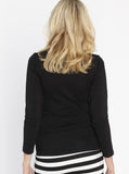 Maternity Long Sleeve Tee with Side Gathers Black back