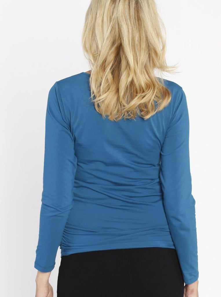 Maternity Long Sleeve Cotton Tee - Blue Teal