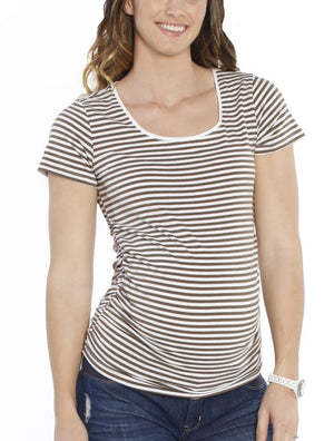 Maternity Body Hugging Stretchy Tee - Khaki Stripes - Angel Maternity - Maternity clothes - shop online