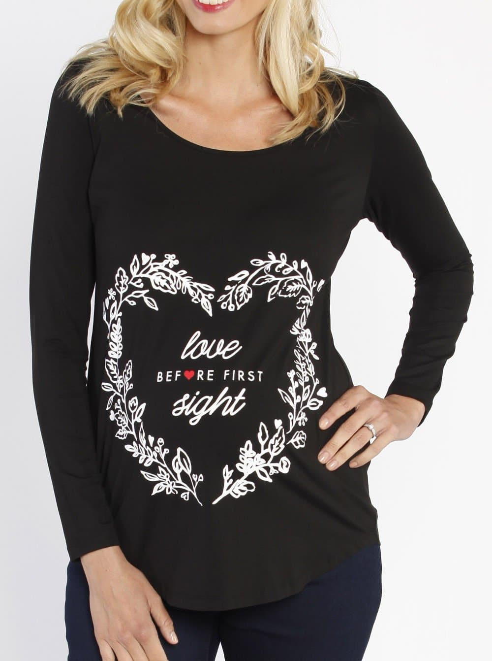 Maternity Long Sleeve Heart Slogan Tee
