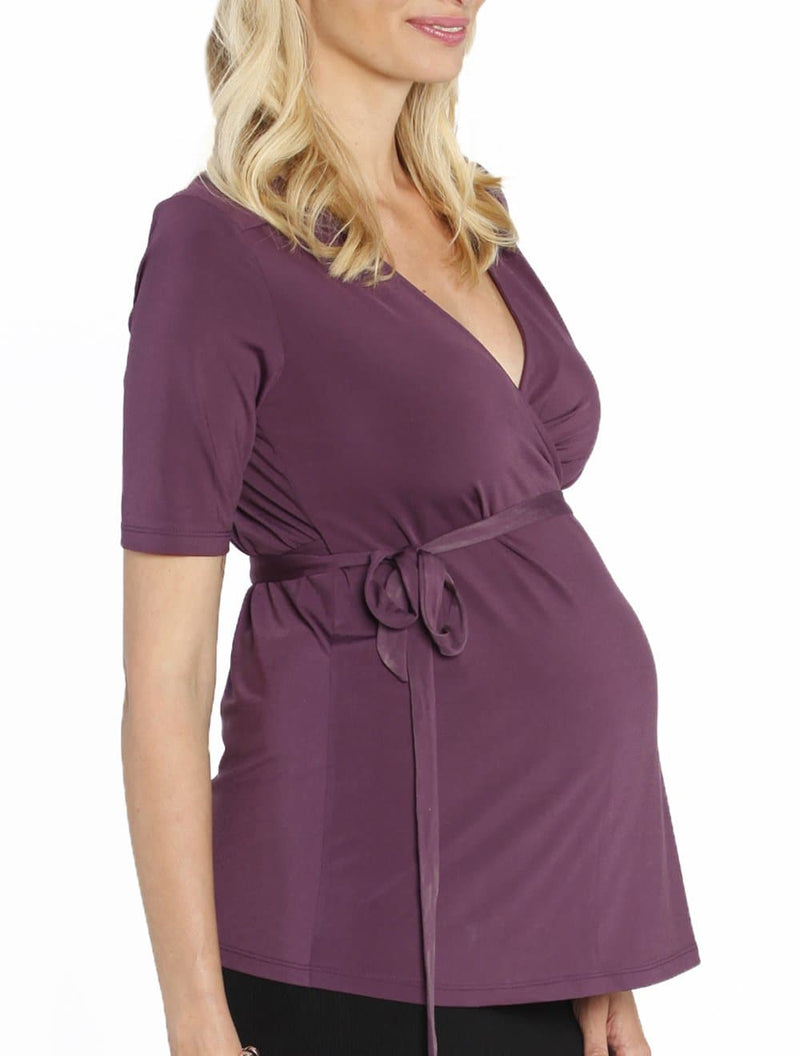 Emily Wrap Half Sleeve Nursing Top in Deep Purple - Angel Maternity - Maternity clothes - shop online