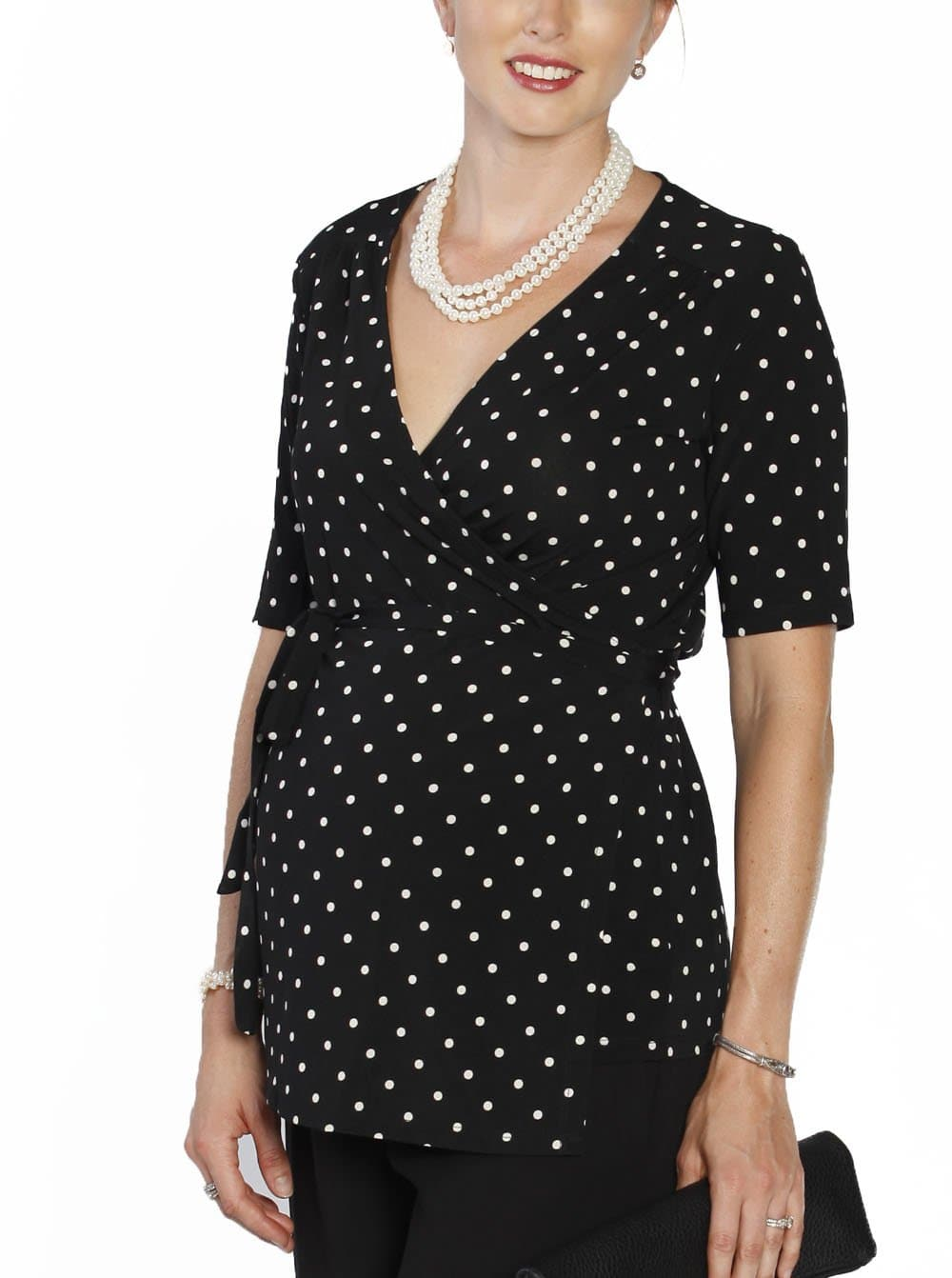Maternity Clothes Online - Angel Maternity - Emily Wrap Nursing Top in black/white Spots