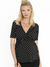Maternity Clothes Australia - Angel Maternity - Maternity Wrap Nursing Top in black/white Spots
