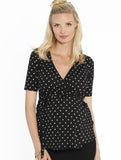 Maternity Wrap Nursing Top in black/white Spots  Apps   Save