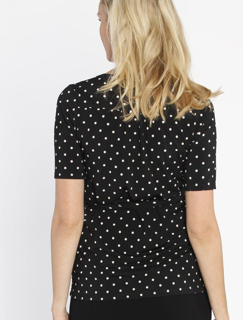 Emily Wrap Nursing Top in black/white Spots Back