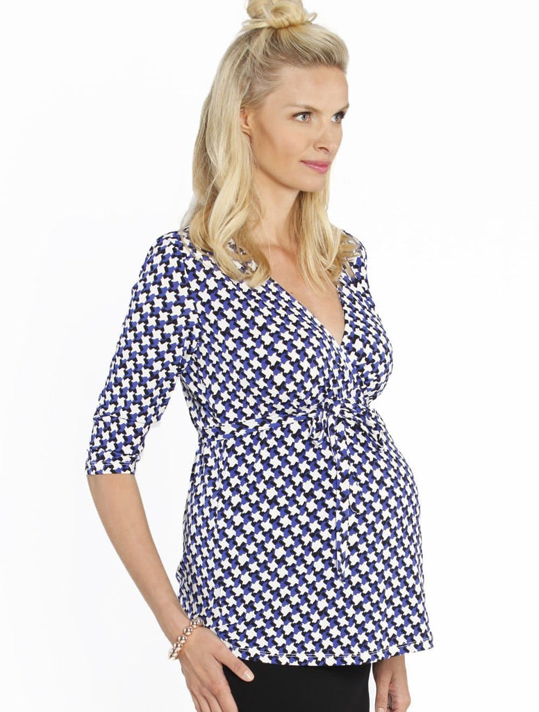 58777653736a ... Emily Wrap Long Sleeve Nursing Top in Blue Print - Angel Maternity - Maternity  clothes ...