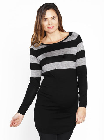 Maternity Long Lounge Cardigan in Navy Stripes