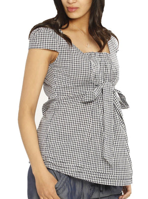 Maternity Sweet Tie Front Cotton Top in Gingham Print